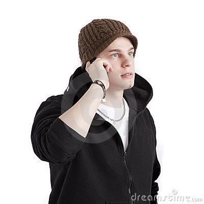 Teen aged boy talking into phone