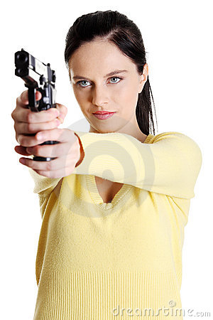 Teen aiming girl.