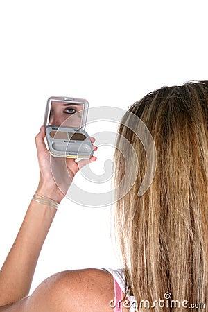 Makeup Mirrors on Teen Applying Eye Makeup In Mirror Royalty Free Stock Photos   Image