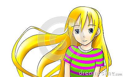 Teen blonde anime girl