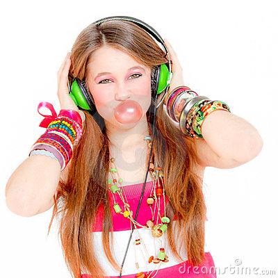 Teen blowing gum listening music