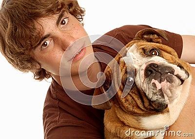Teen boy and bulldog