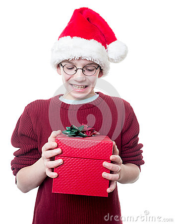 Teen Boy with Christmas Hat and present