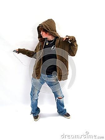 Teen Boy Dancing with MP3