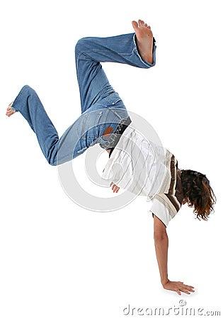 Teen Boy doing Handstand
