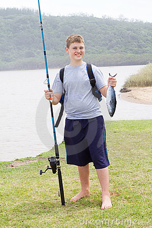 Teen boy fishing