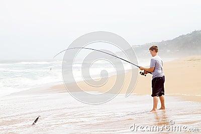 Teen boy fishing