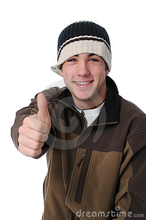 Teen boy giving thumbs up sign
