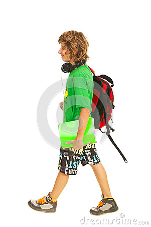 Teen boy going to school