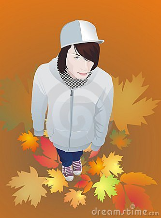 teen boy in gumshoes autumn