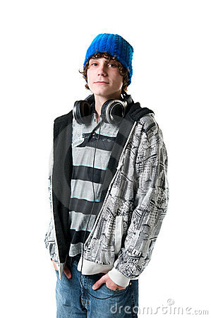 teen boy with headphones