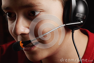 Teen boy in headset