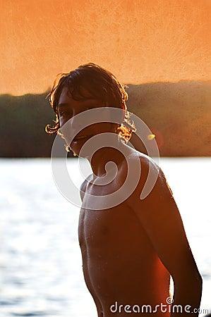 Teen boy at the lake