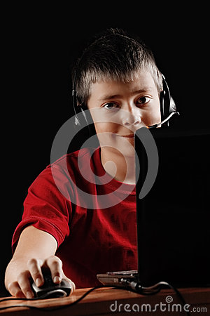 Teen boy with laptop