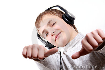 Teen Boy listening to headphones
