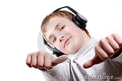 Teen Boy listening to headphones