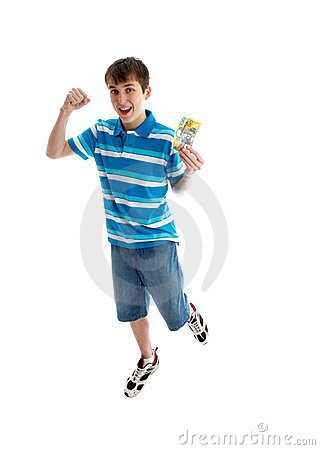 Teen boy prosperity success leap