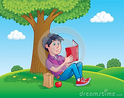 teen boy reading a book under a tree stock illustration