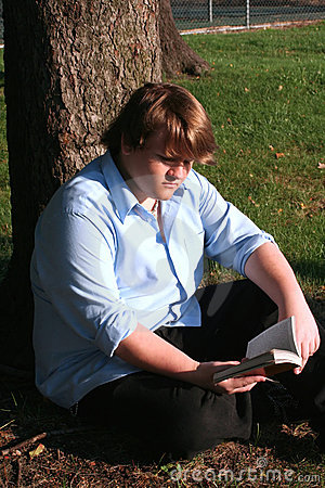 Free Teen Boy Reading In Park Stock Photo - 2463320