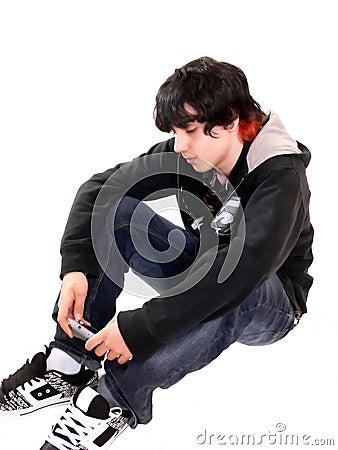Teen boy sitting