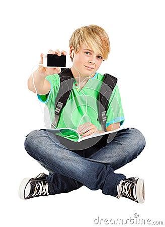 Teen boy with smart phone