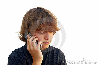 Teen Boy Talking on Mobile Phone