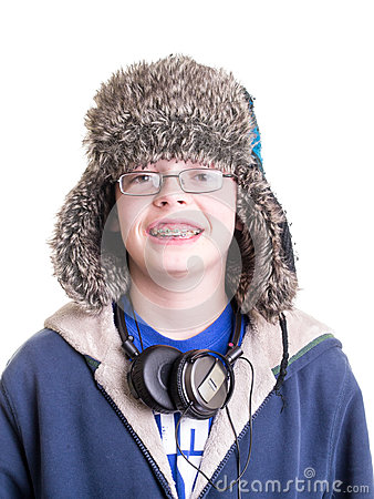 Teen Boy with Trapper Hat