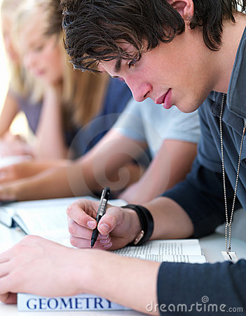 Teen boys and girls writing notes