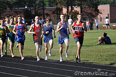 Teen Boys Running in Long Distance Tack Meet Race Editorial Image