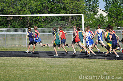 Teen Boys Running in Long Distance Track Meet Race Editorial Stock Image