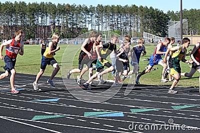 Teen Boys Starting a Long Distance Tack Meet Race Editorial Photography