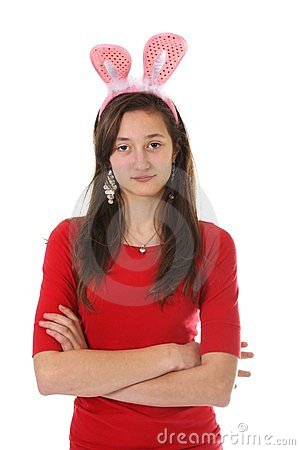 Teen with bunny ears