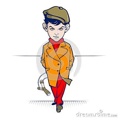 Teen cartoon hooligan with slingshot