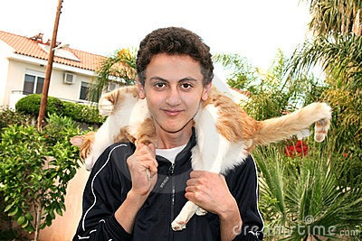 Teen and cat