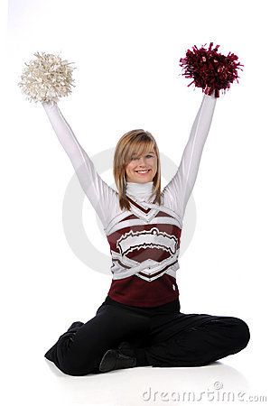 Teen Cheerleader With Pom Poms