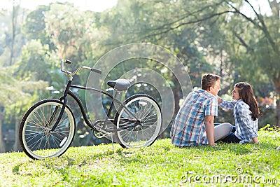 Teen couple sitting