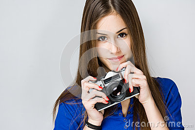 Teen cutie with vintage camera.