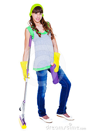 Teen with detergent and mop