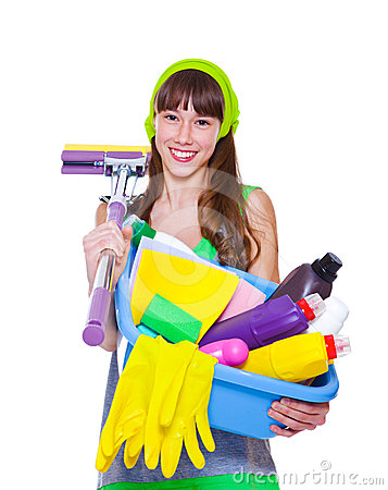 Teen with detergents and mop