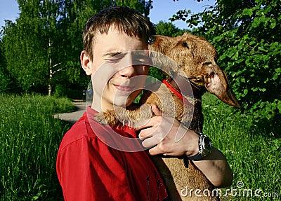 Teen and dog