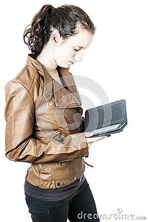 Teen with e-reader