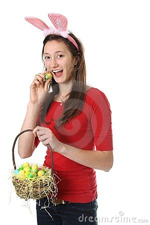 Teen with easter eggs