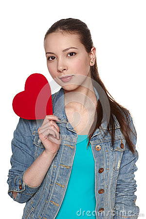 Teen female with heart