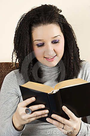 Teen female read a book