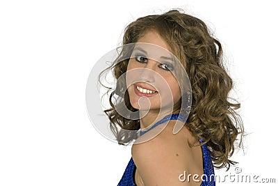 Teen flott head model skulder för brunett