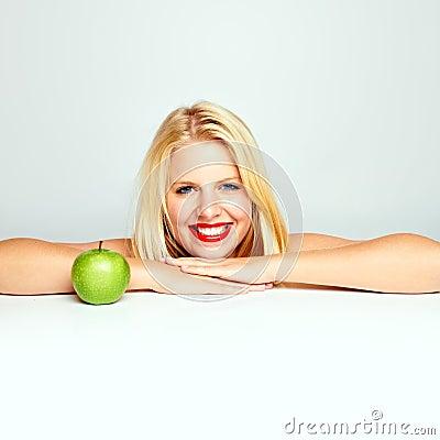 Teen girl with an apple