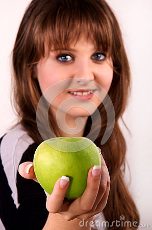 Teen girl and an apple.