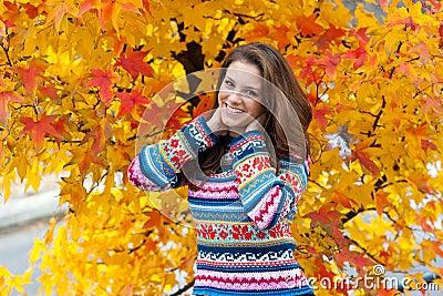 Teen girl in autumn