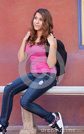Teen Girl with Backpack