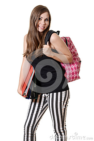Teen girl with a backpack and school books